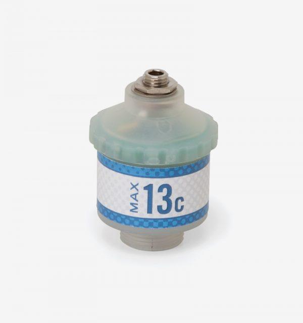 White and blue Max-13 oxygen sensor on white background