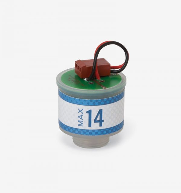 White, blue, and green Max-14 oxygen sensor on white background