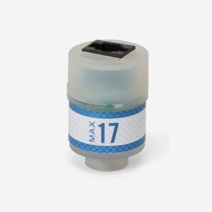 White and blue Max-17 oxygen sensor on white background