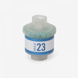 White and blue Max-23 oxygen sensor on white background