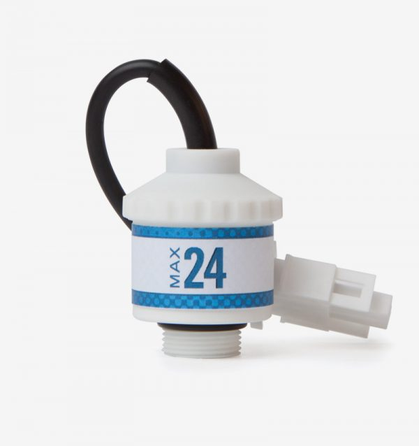 White and blue Max-24 oxygen sensor on white background