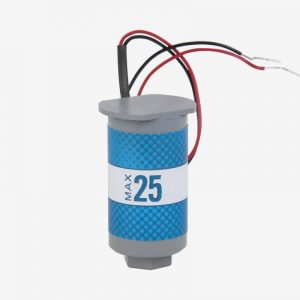 Grey and blue cylindrical max-25 oxygen sensor on white background