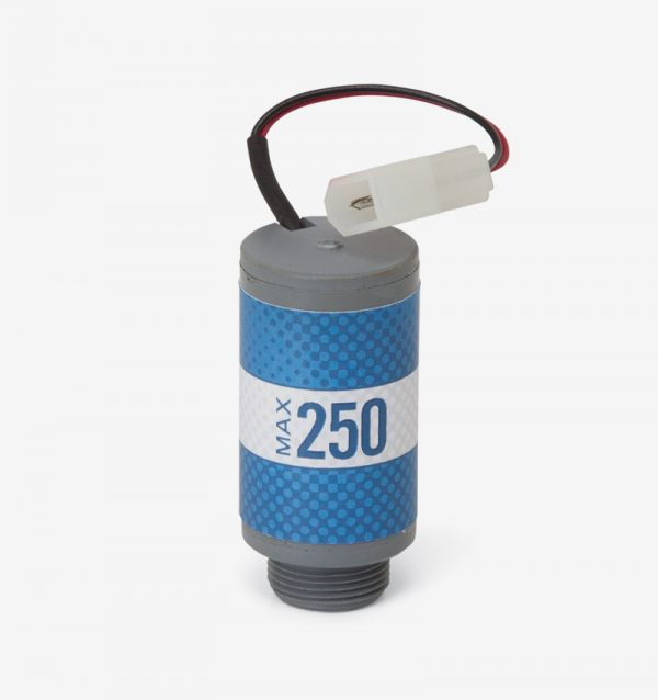Grey and blue cylindrical max-250 oxygen sensor on white background