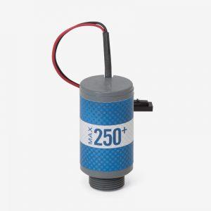White, grey and blue Max-250+ oxygen sensor on white background