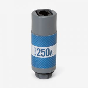 White, grey and blue Max-250A oxygen sensor on white background