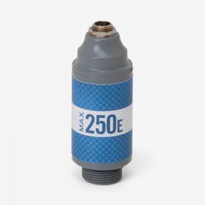 White, grey and blue Max-250E oxygen sensor on white background