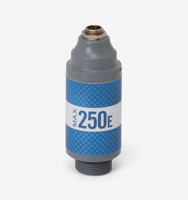 White, grey and blue Max-250E oxygen sensor on white background