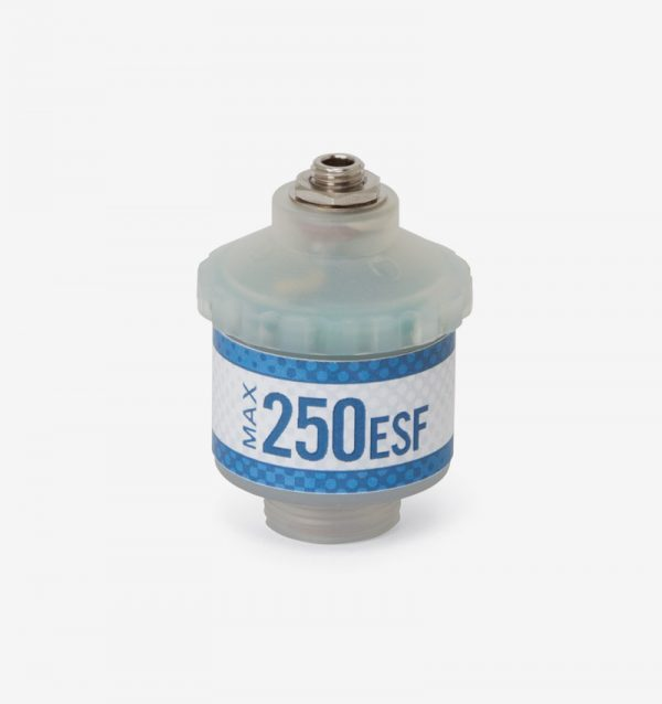 White and blue Max-250ESF oxygen sensor on white background
