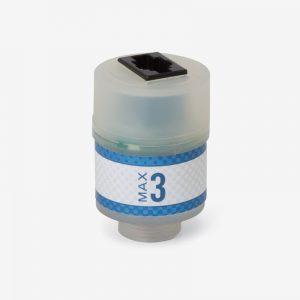 White and blue Max-3 oxygen sensor on white background