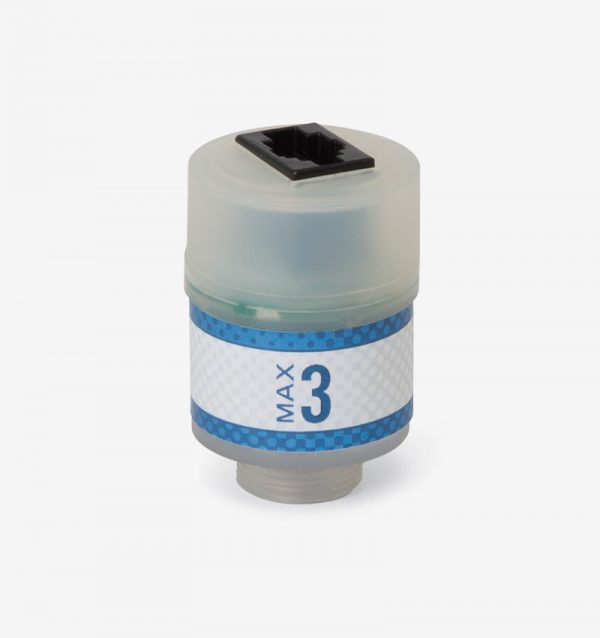 White and blue Max-3 oxygen sensor on white background