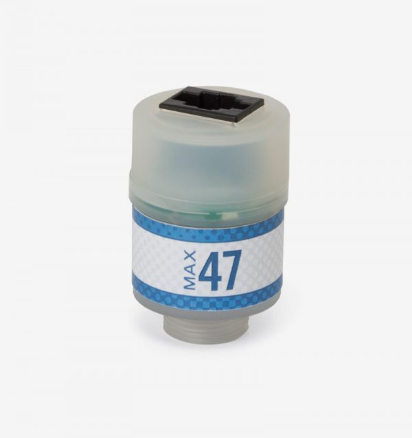 White and blue Max-47 oxygen sensor on white background