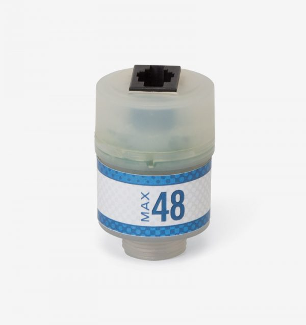 White and blue Max-48 oxygen sensor on white background