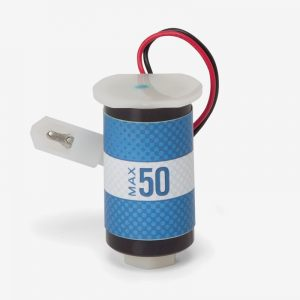 Black, grey, and blue max-50 oxygen sensor with white clip on white background