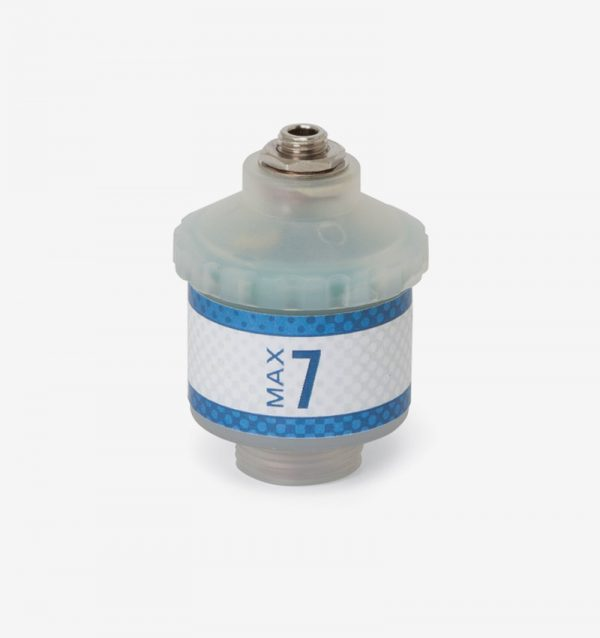 White and blue Max-7 oxygen sensor on white background