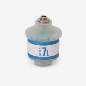 White and blue Max-7L oxygen sensor on white background