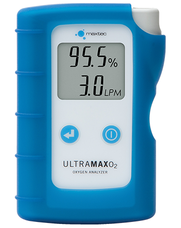 Blue UltraMax O2 oxygen analyzer on a white background displaying 95.5 percent and 3.0 liters per minute